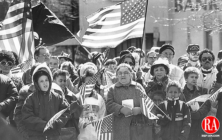 March 9, 1991 - WATERBURY - Some of the chilled crowd that braved wintry temperatures Saturday morning on the Waterbury Green to honor US Troops at a victory rally. Republican-American Archives