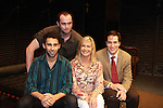Rafi Silver, Gabriel Furman and Jeremy Stiles Holm pose with Grammy Award Winning Olivia Newton-John after the performance of Victoria E. Calderon's play Manipulation on June 24, 2011 at the Cherry Lane Theatre, New York City, New York. (Photo by Sue Coflin/Max Photos)