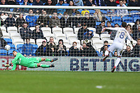 Neil Etheridge of Cardiff City parrys Craig Gardner of Birmingham City penalty into his own net during the Sky Bet Championship match between Cardiff City and Birmingham City at the Cardiff City Stadium, Wales, UK. Saturday 10 March 2018