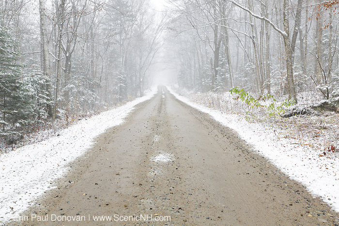 Dusting of snow along Tripoli Road in Livermore, New Hampshire USA during the autumn months.