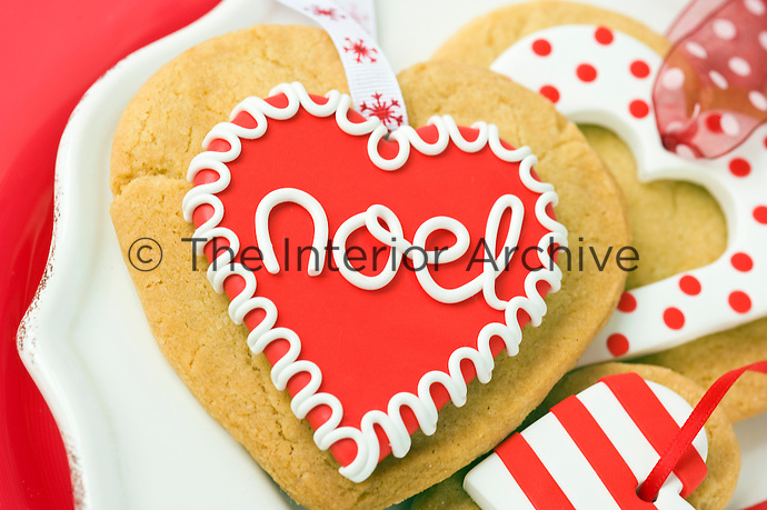 Heart-shaped cookies have been made as Christmas tree decorations