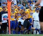 BROOKINGS, SD - SEPTEMBER 20:  Mitch Vejvoda #87 from South Dakota State tries to shake the tackle of Sam McFarland #14 from Wisconsin-Oshkosh in the first half of their game Saturday at Coughlin Alumni Stadium in Brookings. (Photo/Dave Eggen/Inertia)