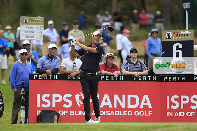 Richard Green (AUS) on the 6th tee during Round 3 of the ISPS HANDA Perth International at the Lake Karrinyup Country Club on Saturday 25th October 2014.<br /> Picture:  Thos Caffrey / www.golffile.ie