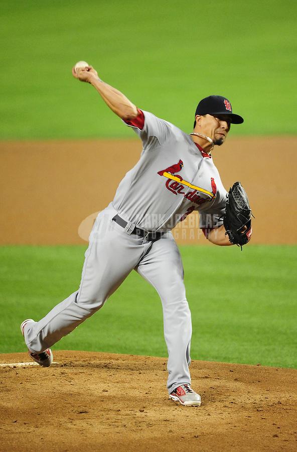 May 9, 2012; Phoenix, AZ, USA; St. Louis Cardinals pitcher Kyle Lohse throws in the first inning against the Arizona Diamondbacks at Chase Field. Mandatory Credit: Mark J. Rebilas-