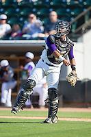 Winston-Salem Dash catcher Omar Narvaez (21) on defense against the Wilmington Blue Rocks at BB&T Ballpark on July 6, 2014 in Winston-Salem, North Carolina.  The Dash defeated the Blue Rocks 7-1.   (Brian Westerholt/Four Seam Images)
