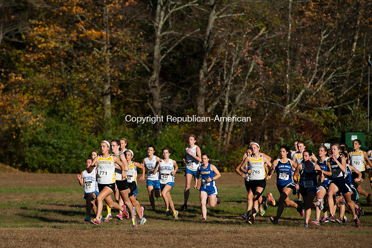 THOMASTON, CT - 17 October 2013-101813EC04--    Thomaston's Sabrina Olsen gets an early lead in the Berkshire League cross country championships at Black Rock State Park Friday. Erin Covey Republican American.