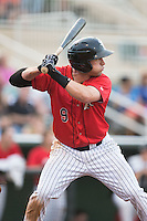 Hunter Jones (9) of the Kannapolis Intimidators at bat against the Lakewood BlueClaws at CMC-Northeast Stadium on May 16, 2015 in Kannapolis, North Carolina.  The BlueClaws defeated the Intimidators 9-7.  (Brian Westerholt/Four Seam Images)