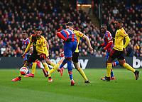 7th March 2020; Selhurst Park, London, England; English Premier League Football, Crystal Palace versus Watford; Wilfried Zaha of Crystal Palace taking a shot