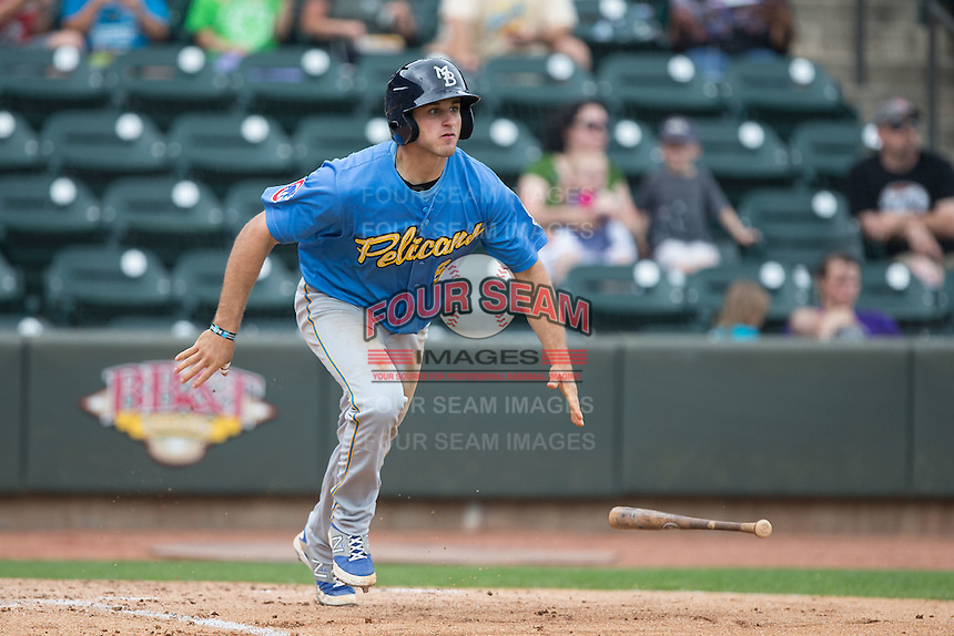 Mark Zagunis (6) of the Myrtle Beach Pelicans drops his bat and start down the first base line against the Winston-Salem Dash at BB&T Ballpark on May 10, 2015 in Winston-Salem, North Carolina.  The Pelicans defeated the Dash 4-3.  (Brian Westerholt/Four Seam Images)