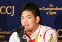 Shohei Ono, Judo gold medalist in Rio Olympic, speaks during a news conference at the Foreign Correspondents' Club of Japan on August 30, 2016, Tokyo, Japan. The three gold medalist judokas spoke about the Rio 2016 Olympic Games, where Japan captured a record 12 medals in this discipline, and their hopes and plans for Tokyo 2020. (Photo by Rodrigo Reyes Marin/AFLO)