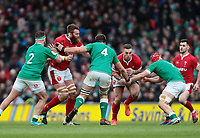 8th February 2020; Aviva Stadium, Dublin, Leinster, Ireland; International Six Nations Rugby, Ireland versus Wales; George North (Wales) takes the ball in to contact as he is tackled by Josh van der Flier (Ireland)
