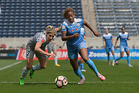 Bridgeview, IL - Saturday May 27, 2017: Mccall Zerboni, Casey Short during a regular season National Women's Soccer League (NWSL) match between the Chicago Red Stars and the North Carolina Courage at Toyota Park. The Red Stars won 3-2.