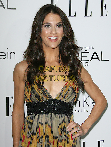 Samantha Harris.ELLE's 19th Annual Women In Hollywood Celebration held at Four Seasons Hotel, Beverly Hills, California, USA..October 15th, 2012.half length black dress grey gray yellow tie dye print hand on hip smiling .CAP/ADM.©AdMedia/Capital Pictures.