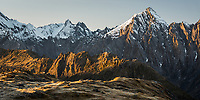 Sunrise on Balfour Range and Mount Copland, Westland Tai Poutini National Park, UNESCO World Heritage Area, West Coast, New Zealand, NZ