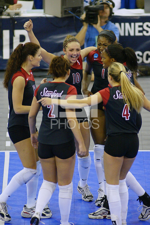 18 December 2004: Stanford Cardinal Kristin Richards celebrates with Jennifer Hucke, Katie Goldhahn, Bryn Kehoe, Franci Girard, Ogonna Nnamani during Stanford's  30-23, 30-27, 30-21 victory over Minnesota in the 2004 NCAA Women's Volleyball National Championships in Long Beach, CA. Stanford won their sixth women's volleyball title in school history.<br />