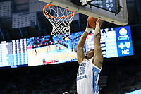 CHAPEL HILL, NC - NOVEMBER 01: Garrison Brooks #15 of the University of North Carolina dunks the ball during a game between Winston-Salem State University and University of North Carolina at Dean E. Smith Center on November 01, 2019 in Chapel Hill, North Carolina.