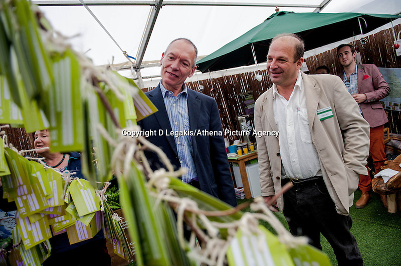 Tuesday 27 May 2014, Hay on Wye, UK<br /> Pictured: ( L-R )  AM John Griffiths and National Trust Director for Wales, Justin Albert <br /> Re: The Hay Festival, Hay on Wye, Powys, Wales UK.