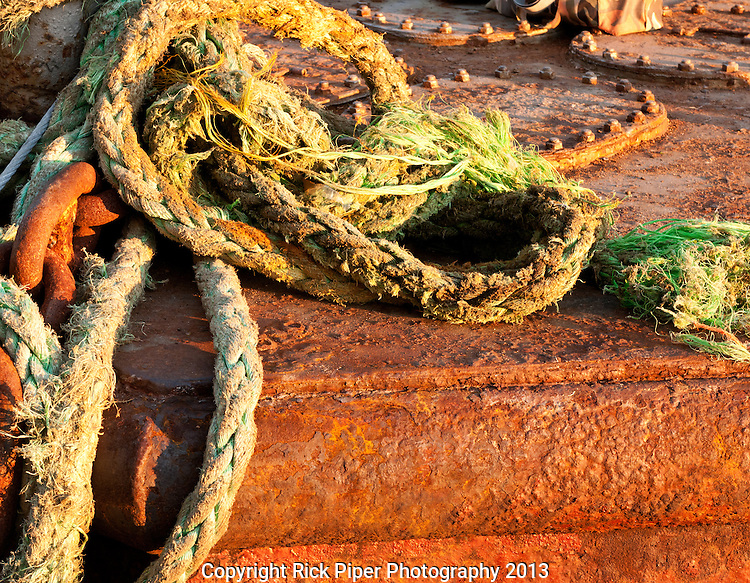 Ropes - Old ropes on a rusting pontoon, Karakoy pier, Istanbul, Turkey