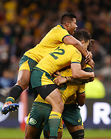 Australia players celebrate after Kurtley Beale scores a try during the Rugby Championship match between Australia and New Zealand at Optus Stadium in Perth, Australia on August 10, 2019 . Photo: Gary Day / Frozen In Motion