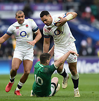 Ben Te'o of England fends Johnny Sexton of Ireland to ground. Natwest 6 Nations match between England and Ireland on March 17, 2018 at Twickenham Stadium in London, England. Photo by: Patrick Khachfe / Onside Images
