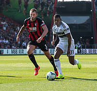 Fulham's Floyd Alite (left) under pressure from  Bournemouth skipper Steve Cook (right) <br /> <br /> Photographer David Horton/CameraSport<br /> <br /> The Premier League - Bournemouth v Fulham - Saturday 20th April 2019 - Vitality Stadium - Bournemouth<br /> <br /> World Copyright © 2019 CameraSport. All rights reserved. 43 Linden Ave. Countesthorpe. Leicester. England. LE8 5PG - Tel: +44 (0) 116 277 4147 - admin@camerasport.com - www.camerasport.com
