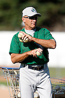 July 16, 2009:  Coach Paul Sanagorski of the Vermont Lake Monsters during a game at Russell Diethrick Park in Jamestown Jammers, NY.  The Lake Monsters are the NY-Penn League Short-Season Class-A affiliate of the Washington Nationals.  Photo By Mike Janes/Four Seam Images