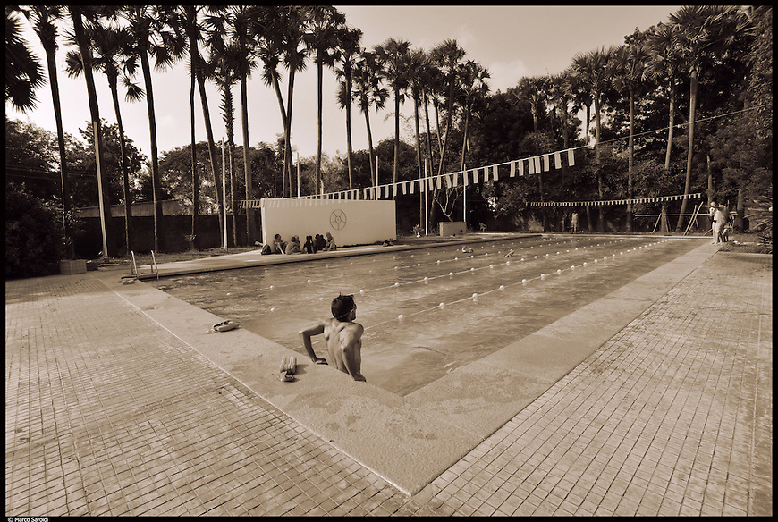 Auroville swimming pool, 7 km away from Pondicherry. South India.