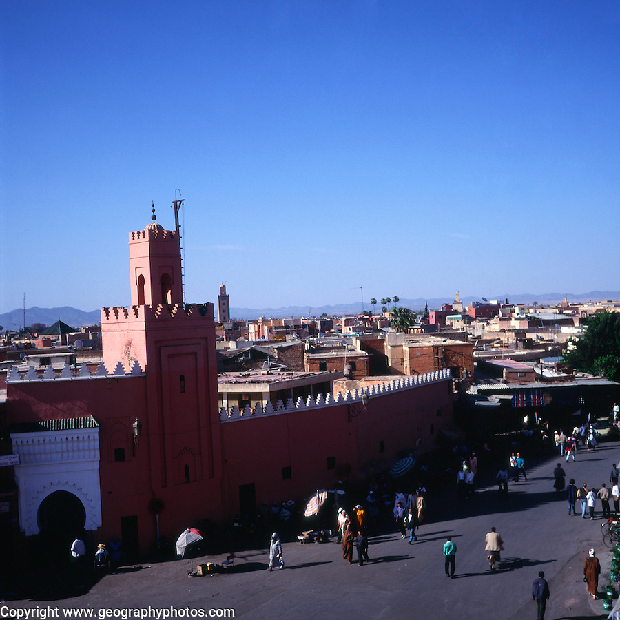 Mosque and walls of the medina, Marrakech, Morocco