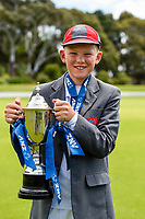 Medbury School Captain Jackson Garry with the National Primary School Cup. National Primary Cup boys' cricket tournament at Lincoln Domain in Christchurch, New Zealand on Wednesday, 20 November 2019. Photo: John Davidson / bwmedia.co.nz