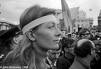 Vanessa Regrave, actor, waiting to address the crowds, anti-Vietnam war demonstration march from Trafalgar Sq to Grosvenor Sq Sunday 17th March 1968.  I was told the headband was a Vietnamese sign of mourning for dead children.