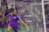 Orlando, FL - Saturday July 15, 2017: Kristen Edmonds celebrates her goal during a regular season National Women's Soccer League (NWSL) match between the Orlando Pride and FC Kansas City at Orlando City Stadium.