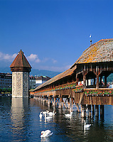 Switzerland, Canton Lucerne, City Lucerne at river Reuss: Chapel Bridge with Water Tower