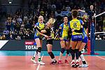 24.02.2019, SAP Arena, Mannheim<br /> Volleyball, DVV-Pokal Finale, SSC Palmberg Schwerin vs. Allianz MTV Stuttgart<br /> <br /> Jubel nach Matchball / Sieg<br /> Jennifer Geerties (#6 Schwerin), Anna Pogany (#4 Schwerin), Mckenzie Adams (#13 Schwerin), Kimberly Drewniok (#8 Schwerin), Beta Dumancic (#11 Schwerin)<br /> <br />   Foto © nordphoto / Kurth