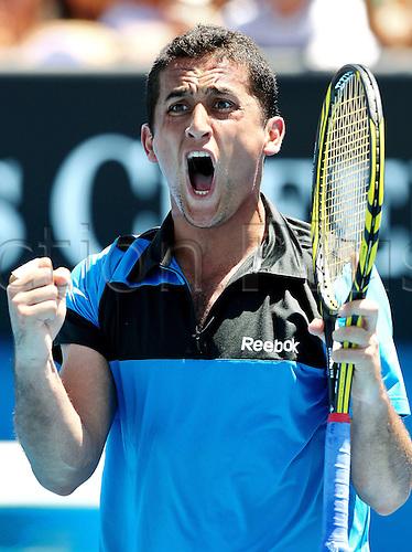 21 01 2011  Pictures Tennis ATP Australian Open Melbourne Australia 21 Jan 11 Tennis ATP World Tour Grand Slam Australian Open 2011 Picture shows the cheering from Nicolas Almagro ESP