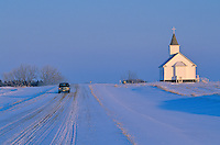 Snowy winter road at Saint Paul Lutheran Church, Winter on Northern Plains, Mercer County, North Dakota, AGPix_0272.