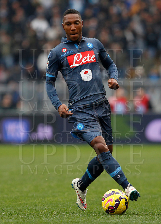 Calcio, Serie A: Lazio vs Napoli. Roma, stadio Olimpico, 18 gennaio 2015.<br /> Napoli&rsquo;s Jonathan De Guzman in action during the Italian Serie A football match between Lazio and Napoli at Rome's Olympic stadium, 18 January 2015.<br /> UPDATE IMAGES PRESS/Isabella Bonotto