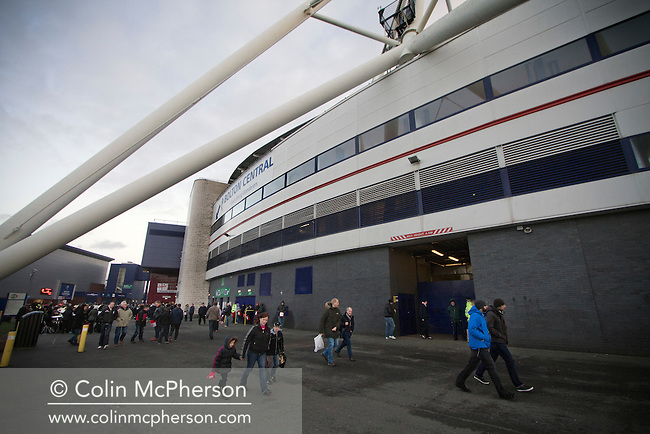 Spectators making their way towards the the home end at the Reebok Stadium, before Bolton Wanderers take on Liverpool in a Barclays Premier League game. The match was won by Bolton by 3 goals to 1, watched by a near-capacity crowd of 26,854. The win lifted Bolton out of the relegation places in England's top division, while Liverpool remained seventh.