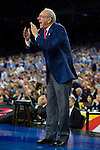 02 APR 2016: Head Coach Jim Boeheim of Syracuse University rallies his team against the University of North Carolina during the 2016 NCAA Men's Division I Basketball Final Four Semifinal game held at NRG Stadium in Houston, TX. North Carolina defeated Syracuse 83-66 to advance to the championship game.  Brett Wilhelm/NCAA Photos