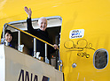March 20, 2017, Tokyo, Japan - US movie Star Wars' C-3PO actor Anthony Daniels puts his authgraph on the C-3PO designed plane as he attends a presentation of All Nippon Airways (ANA) C-3PO jetliner at a hanger of ANA at Tokyo's Haneda airport on Monday, March 20, 2017. C-3PO designed Boeing 777-200 jet will start domestic flight service from March 21.    (Photo by Yoshio Tsunoda/AFLO) LwX -ytd-