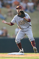 Arizona State Sun Devil shortstop Deven Marrero #17 on second against the Texas Longhorns in NCAA Tournament Super Regional Game #3 on June 12, 2011 at Disch Falk Field in Austin, Texas. (Photo by Andrew Woolley / Four Seam Images)