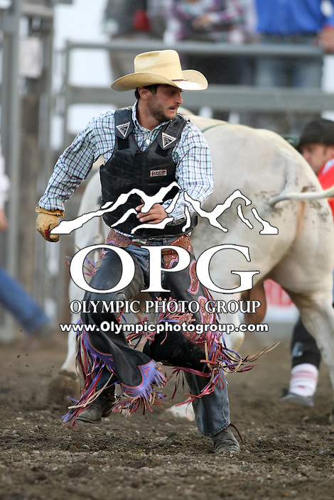 20 Aug 2014:  Elliot Jacoby was not able to score while competing in the Seminole Hard Rock Extreme Bulls competition at the Kitsap County Stampede in Bremerton, Washington.