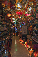 Shop selling decorative and ornate lanterns, Granada, Spain.