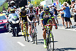 The breakaway group Marco Minnaard (NED) Wanty-Groupe Gobert, Laurens Ten Dam (NED) Team Sunweb and Fabien Grellier (FRA) Direct Energie in action during Stage 8 of the 2018 Tour de France running 181km from Dreux to Amiens Metropole, France. 14th July 2018. <br /> Picture: ASO/Alex Broadway | Cyclefile<br /> All photos usage must carry mandatory copyright credit (&copy; Cyclefile | ASO/Alex Broadway)