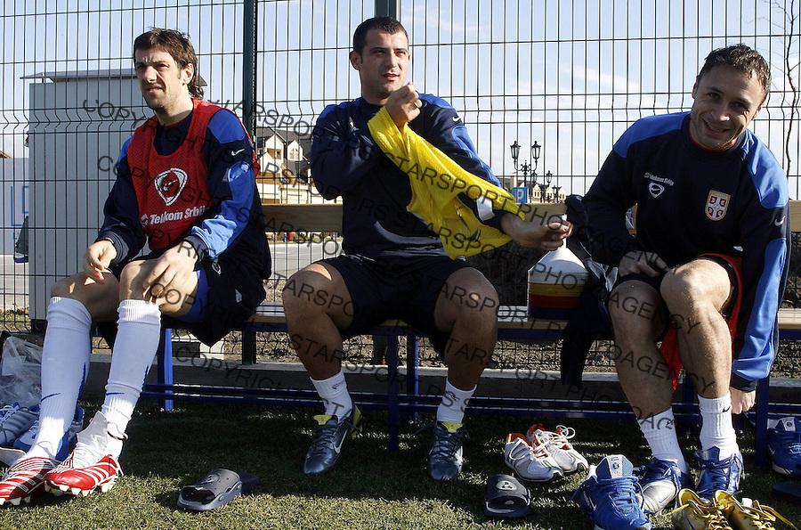 Fudbal, reprezentacija Srbije, pripreme za EURO Mladen Krstajic, left, Dejan Stankovic AND Markovic MarjanBeograd, 07.02.2007.foto: Srdjan Stevanovic