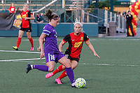 Rochester, NY - Saturday June 11, 2016: Orlando Pride midfielder Maddy Evans (18), Western New York Flash midfielder Michaela Hahn (2) during a regular season National Women's Soccer League (NWSL) match between the Western New York Flash and the Orlando Pride at Rochester Rhinos Stadium.