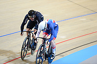 Picture by SWpix.com - 03/03/2018 - Cycling - 2018 UCI Track Cycling World Championships, Day 4 - Omnisport, Apeldoorn, Netherlands - Men's Sprint Quarterfinals - Edward Dawkins of New Zealand and Jack Carlin of Great Britain