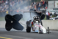 Oct. 6, 2012; Mohnton, PA, USA: NHRA top alcohol dragster driver Chris Demke during the Auto Plus Nationals at Maple Grove Raceway. Mandatory Credit: Mark J. Rebilas-