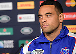 ENG - Newcastle upon Tyne, England, October 08: During the Media Conference at the Captains Run of Samoa on October 8, 2015 at St. James Park in Newcastle upon Tyne, England. (Photo by Dirk Markgraf / www.265-images.com) *** Local caption *** captain of Samoa Kahn Fotuali'i
