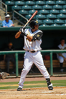 Jacksonville Suns outfielder Matt Juengel (15) in action during a game against the Pensacola Blue Wahoos at Bragan Field on the Baseball Grounds of Jacksonville on May 11, 2015 in Jacksonville, Florida. Jacksonville  defeated Pensacola 5-4. (Robert Gurganus/Four Seam Images)