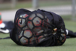 CARY, NC - JUNE 15: A bag of NWSL soccer balls. The North Carolina Courage held a training session on June 15, 2017, at WakeMed Soccer Park Field 7 in Cary, NC.